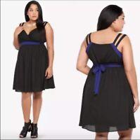 Torrid Plus size 14 black sleeveless dress with purple trim