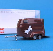 Busch H0 44904 Pferde-Transport-Anhänger Braun Horse Trailer HO 1:87 OVP box