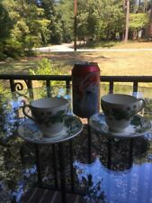 Old WEDGWOOD Queen's Ware NAPOLEON IVY AL4751 Green  2 Demitasse Cups & Saucers