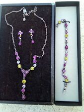 GIVENCHY NECKLACE, BRACELET, EARRINGS SET.  PURPLE YELLOW GREEN PINKISH STONES.