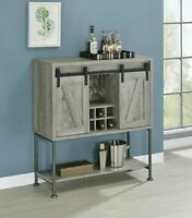 CoasterCountry Rustic Farmhouse Sliding Barn Door Bar Cabinet Wine Storage Gray