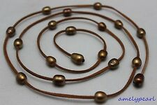 "wholesale Light brown Leather Brown freshwater pearl necklace10x12mm 48""no metal"