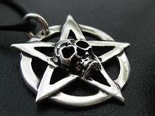 Pentagramm Totenkopf 925'er Silber Anhänger + Echtlederband Gothic / KA 066