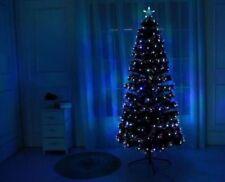 New GREEN WHITE BLACK 4,5,6,7Ft Led & Fibre Optic Christmas Tree Lights Pre Lit
