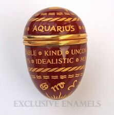 Halcyon Days Enamels Aquarius Sign Of The Zodiac Egg Enamel Box