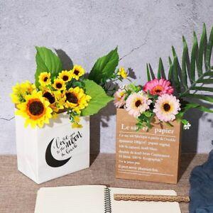 Kraft Paper Vase Layers Double Decoration Home Artificial Flower Pot Dried Plant
