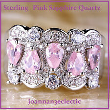 SIZE 10 New Pear Pink Sapphire Quartz White Topaz Gem Sterling Silver Fill Ring