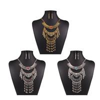 Boho Ethnic Women Crystal Pendant Choker Statement Chunky Necklace Chain Jewelry