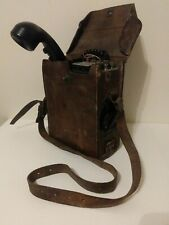 WW2 U.S. Army Field Telephone TS-9-J W/ Leather Case/Strap Used