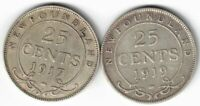 2 X NEWFOUNDLAND .925 SILVER COINS 1917C 1919C KING GEORGE V TWENTY FIVE CENTS