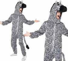 Zebra All In One Mens Animal Fancy Dress Costume Animals Outfit Mens Ladies OS