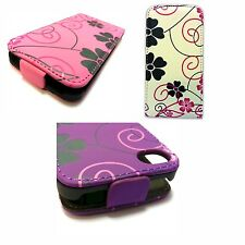 Case For Apple iPhone 4 iPhone 4s White Pink Purple Flower Swirl Flip PU Leather