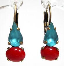 SoHo® Ohrhänger Ohrringe tropfen vintage glas türkis rot 1960´s handgemacht
