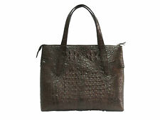 Genuine Crocodile Leather Handbag Brown Color