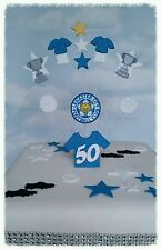 LEICESTER CITY FOOTBALL TOPPER. BIRTHDAY CAKE DECORATION. WITH  AGE 18,21  ETC
