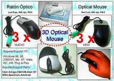 3u x 3D Optical Mouse Raton PC PS/2 Win 95 NT XP IBM Amiga ATARI C64 Amstrad MSX