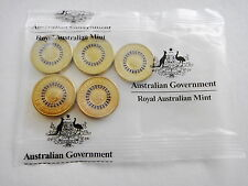 RARE- 2013-AUSTRALIAN-$2 DOLLAR-5 COINS IN BAG QUEENS CORONATION PURPLE RING-UNC