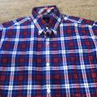 Tailorbyrd Button Down Dress Shirt Medium Blue/Red/White Plaid  Cotton PATRIOTIC