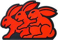 Auto Relief Schild 3D Aufkleber Drei Hasen Hase Emblem 8 cm Rabbit HR Art. 4777