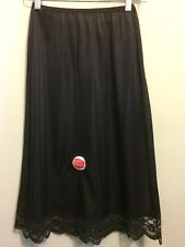 Vtg Ladies Half Slip Black Nylon Nos Lace Deadstock Underwear Lingerie Silky New