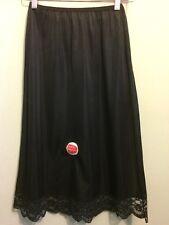 Vtg Ladies Half Slip Black Nylon Nos Lace Deadstock Underwear Lingerie Silky New