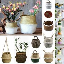 Foldable Handmade Seagrass Belly Basket Plant Flower Pot Laundry Storage Holder