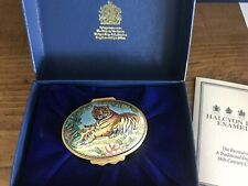 Halcyon Days Hinged Enamel Over Copper Tiger in the Jungle