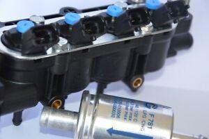 RAIL COMPLETO 4 INIETTORI TAPPO BLU GPL LANDI RENZO Connettore Fiat + Filtri