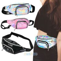 Women Girl Waist Fanny Pack Shiny Waist Belt Hip Bum Leather Bag Festival Travel