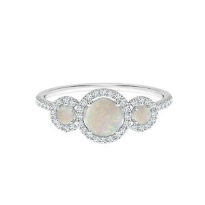 Floating Round Three Stone 925 Silver 0.50 CTW White Opal Bridal Love Ring