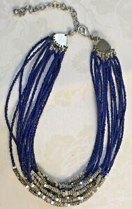 Chico's Posy Short Multi 14 Strand Royal Blue & Silver Bead Necklace