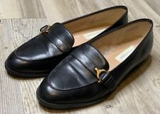 Etienne Aigner Women's Black Brown Leather Horse-bit Slip On Loafers Shoes 8.5
