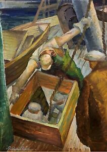 IVER ROSE 20th c. American WPA Rockport Cape Ann MA PAINTING Fishing Boat Men
