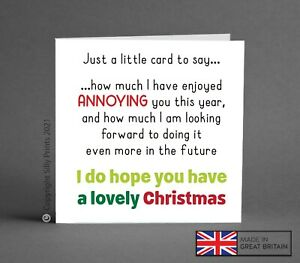 FUNNY CHRISTMAS CARD enjoy annoying you future brother BFF best mate rude K14