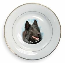 Black Belgian Shepherd 'Love You Mum' Gold Rim Plate in Gift Box Ch, AD-BS3lymPL