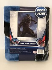 "Marvel Black Panther Silky Soft Throw Blanket 40"" x 50"" New Avengers"