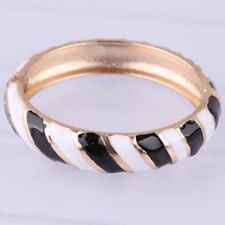 New Gold Filled Black & Ivory/White Enamel Cloisonne Hinged Bangle Bracelet
