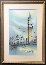 Vintage Original Watercolour Painting St Mark's Campanile Venice Signed Dated 82