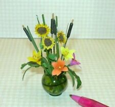 Miniature Paper Flower Arrangement in Green Pitcher Vase (#3): DOLLHOUSE 1:12