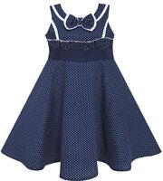 Sunny Fashion Robe Fille Arc Attacher Cœur Imprimer Sans Manches Bleu 7-14 ans