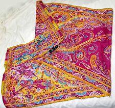 ETRO MILANO silk scarf Paisley with gold trim Italy 53 x 17