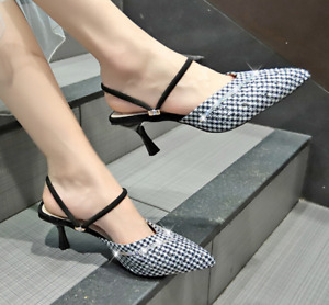 Womens Ladies Pointed Toe Houndstooth Mules Kitten Heels Slingback Sandals Shoes