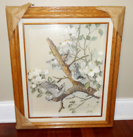 VINTAGE BASIL EDE 3D BIRDS ON FLOWER BRANCH BIRD PRINT WOODEN FRAME SHADOW BOX