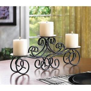 Iron Tuscan Gracious Curvy Centerpiece Triple Candleholder Decoration Stand