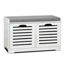Artiss Fabric Shoe Bench with Drawers (71 x 35 x 43 cm) - White/Grey