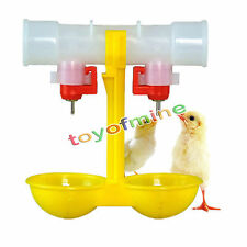 Automatic Poultry Feed Water Bird Coop Chicken Fowl 2-Head Double Head Drinker