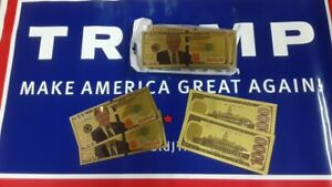 Lot of 25 Donald Trump Gold Foil Plate Dollars $1000 Bill Money Currency MAGA!