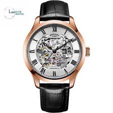 Neues AngebotRotary Uhren Schwarz Leder Armband Silber Dial gs02942/01 Herrenuhr