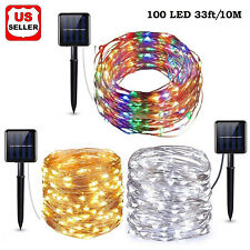 Outdoor Solar Powered 33Ft 10m 100 LED Copper Wire Waterproof Light String Xmas