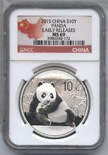China 2015 Silver Panda 1 oz NGC MS 69 Early Releases Chinese bullion BA775